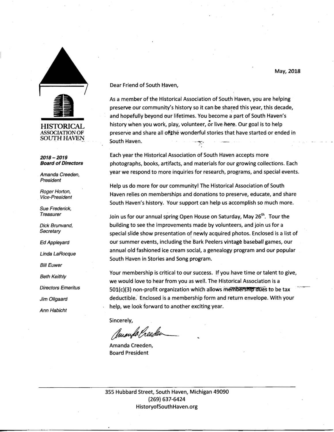 2018 Membership Letter - Historical Association of South Haven