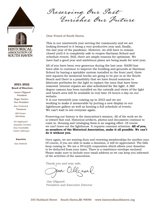 2021 Membership Letter